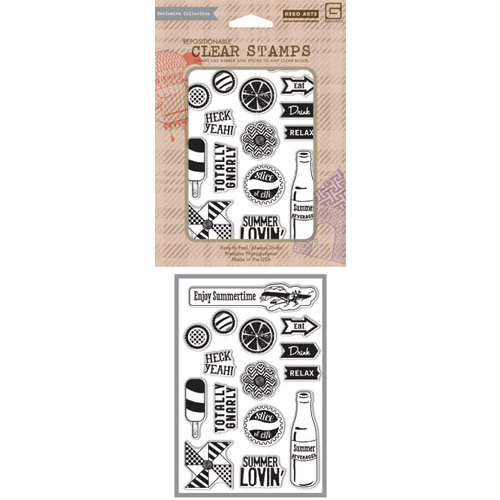 Hero Arts - BasicGrey - Soleil Collection - Poly Clear - Clear Acrylic Stamps - Summer Lovin'