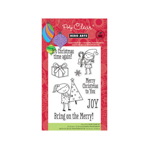 Hero Arts - Poly Clear - Christmas - Clear Acrylic Stamps - Bring on the Merry