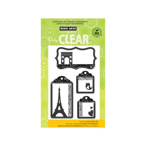 Hero Arts - Poly Clear - Clear Acrylic Stamps - Travel Tags