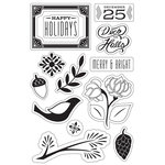 Hero Arts - BasicGrey - Evergreen Collection - Christmas - Clear Acrylic Stamps - Merry and Bright Holidays