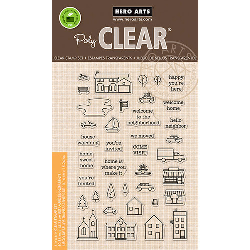 Hero Arts - Trend Collection - Clear Acrylic Stamps - Town Essentials