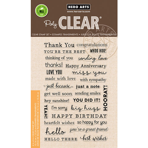 Hero Arts - Everyday Collection - Clear Acrylic Stamps - Many Everyday Messages