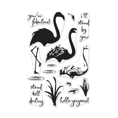 Hero Arts - Tropical Collection - Clear Acrylic Stamps - Color Layering - Flamingo