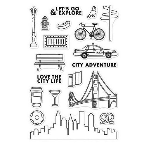 Hero Arts - Adventure Collection - Clear Photopolymer Stamps - City Adventure