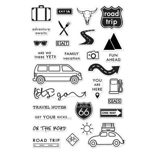 Hero Arts - Adventure Collection - Clear Acrylic Stamps - On The Road