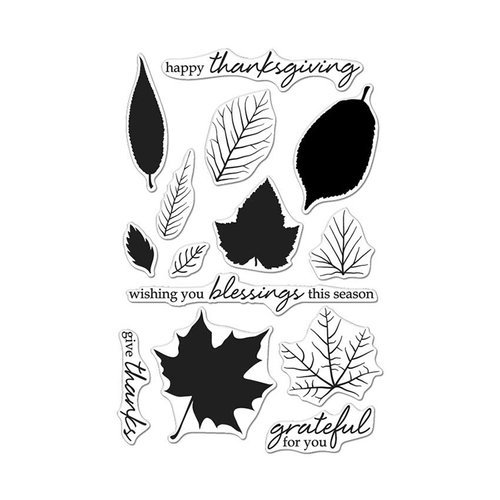 Hero Arts - Fall Collection - Clear Photopolymer Stamps - Color Layering Grateful Leaves