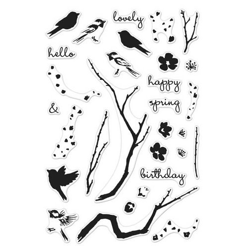 Hero Arts - Clear Photopolymer Stamps - Color Layering Birds and Blossoms