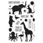 Hero Arts - Friendly Critters Collection - Clear Acrylic Stamps - Birthday Animal Silhouettes