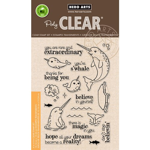 Hero Arts - Clear Acrylic Stamps - Believe In Yourself Narwhal