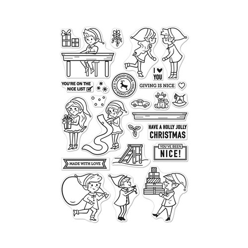 Hero Arts - Christmas - Clear Acrylic Stamps - Nice Elves