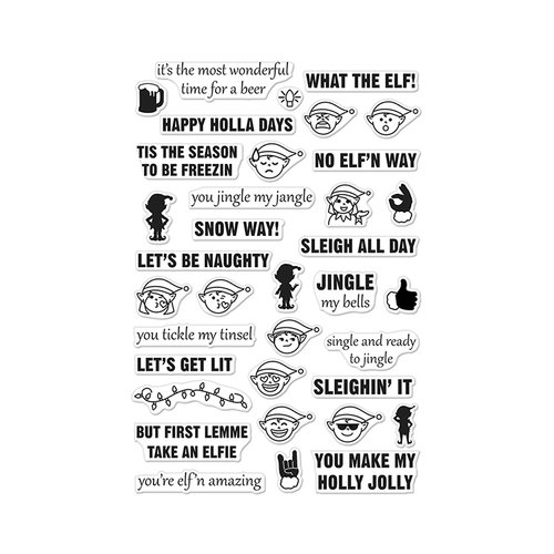 Hero Arts - Christmas - Clear Acrylic Stamps - Irreverent Elf Messages