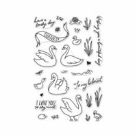 Hero Arts - Clear Photopolymer Stamps - Swans and Cattails