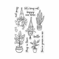 Hero Arts - Clear Photopolymer Stamps - Hang In There Potted Plants