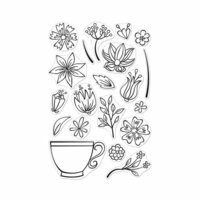 Hero Arts - Clear Photopolymer Stamps - Teacup Flowers