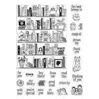 Hero Arts - Clear Photopolymer Stamps - Bookcase Peek-A-Boo Parts