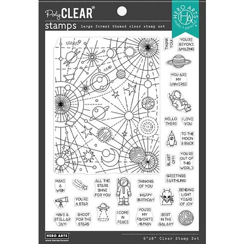 Hero Arts - Clear Photopolymer Stamps - Galaxy Peek-A-Boo Parts