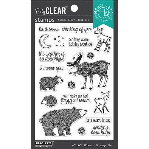 Hero Arts - Clear Photopolymer Stamps - Fuzzy Winter Animals