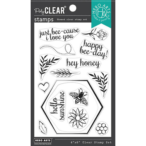 Hero Arts - Clear Photopolymer Stamps - Bee and Flowers Wreath