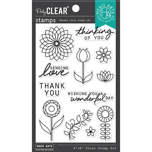 Hero Arts - Clear Photopolymer Stamps - Line Art Flowers