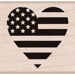 Hero Arts - Woodblock - Wood Mounted Stamps - Heart Flag