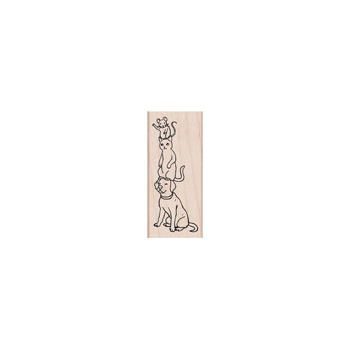 Hero Arts - Woodblock - Wood Mounted Stamps - Dog, Cat, Mouse