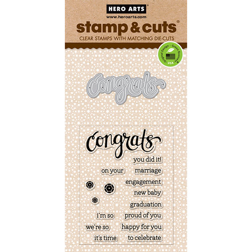 Hero Arts - Die and Clear Photopolymer Stamp Set - Congrats