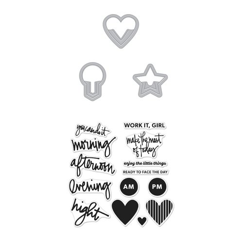 Hero Arts - Kelly Purkey Collection - Die and Clear Photopolymer Stamp Set - Everyday Clips