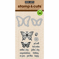 Hero Arts - Critters Collection - Die and Clear Photopolymer Stamp Set - Butterfly Pair