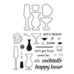 Hero Arts - Die and Clear Acrylic Stamp Set - Cocktail Party