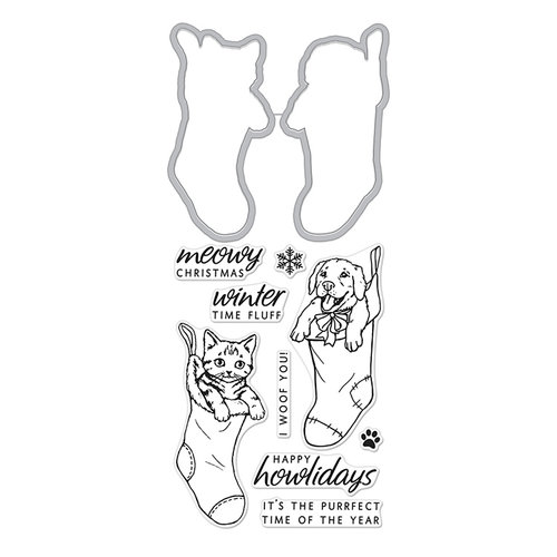 Hero Arts - Christmas - Die and Clear Photopolymer Stamp Set - Fluffy Stockings