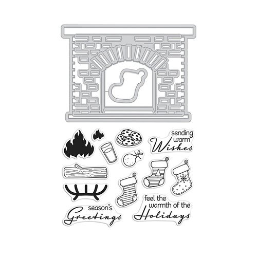 Hero Arts - Christmas - Die and Clear Photopolymer Stamp Set - Winter Hearth