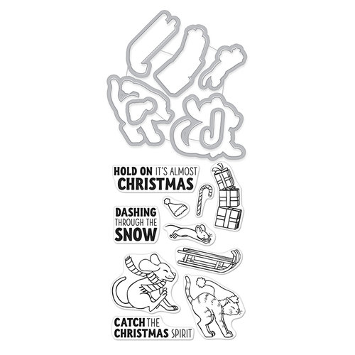 Hero Arts - Christmas - Die and Clear Photopolymer Stamp Set - Sledding