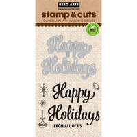 Hero Arts - Dies and Clear Photopolymer Stamp Set - Happy Holidays Script