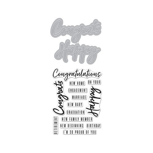 Hero Arts - Die and Clear Photopolymer Stamp Set - Congrats Happy