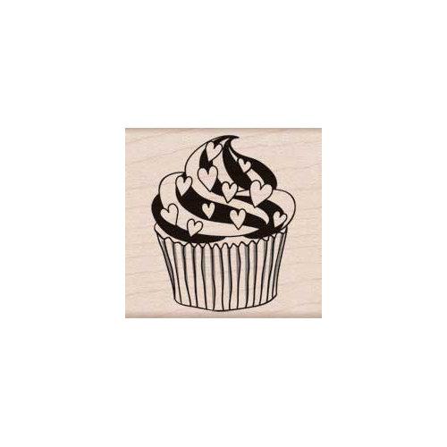 Hero Arts - Woodblock - Wood Mounted Stamps - Heart Cupcake