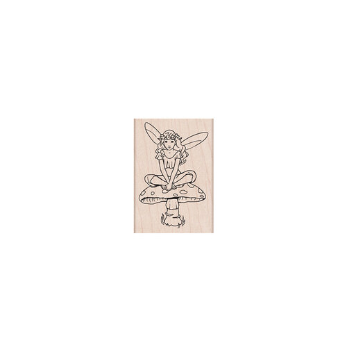 Hero Arts - Woodblock - Wood Mounted Stamps - Fairy on Mushroom