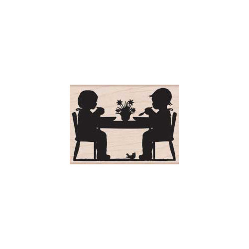 Hero Arts - Woodblock - Wood Mounted Stamps - Children at Table
