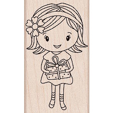 Hero Arts - Woodblock - Wood Mounted Stamps - Girl with Gift