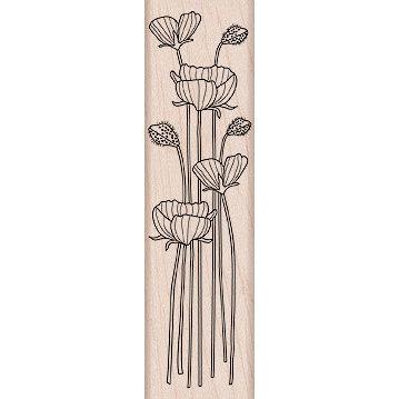 Hero Arts - Woodblock - Wood Mounted Stamps - Long Stem Flowers