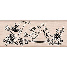 Hero Arts - Woodblock - Wood Mounted Stamps - Three Song Birds