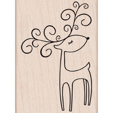 Hero Arts - Woodblock - Christmas - Wood Mounted Stamps - Winking Reindeer