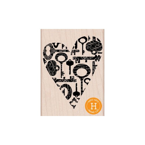 Hero Arts - Woodblock - Wood Mounted Stamps - Heart Keys