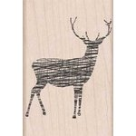 Hero Arts - Woodblock - Christmas - Wood Mounted Stamps - Cross-Hatch Reindeer