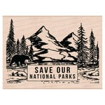 Hero Arts - Woodblock - Wood Mounted Stamps - Save Our National Parks