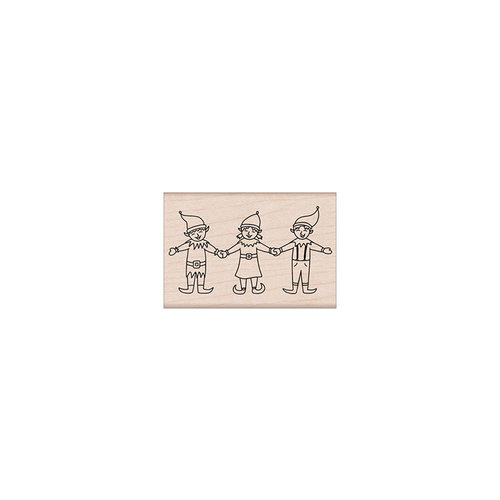 Hero Arts - Christmas - Woodblock - Wood Mounted Stamps - Three Happy Elves