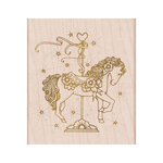 Hero Arts - From The Vault - Woodblock - Wood Mounted Stamps - Floral Carousel Filly