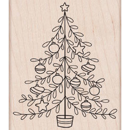 Hero Arts - Woodblock - Christmas - Wood Mounted Stamps - Decorated Tree