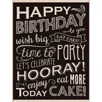 Hero Arts - Wood Block - Wood Mounted Stamp - Birthday Blackboard