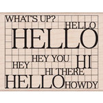 Hero Arts - Wood Block - Wood Mounted Stamp - Hello Grid