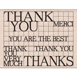 Hero Arts - Wood Block - Wood Mounted Stamp - Thank You Grid